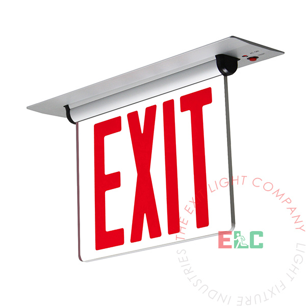 NYC Approved Edge Lit Red LED Exit Sign | Recessed Mount | Adjustable Angle | Ceiling and Wall Mount