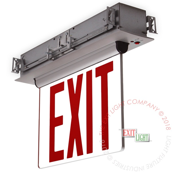 NYC Approved Edge Lit Red LED Exit Sign | Recessed Mount