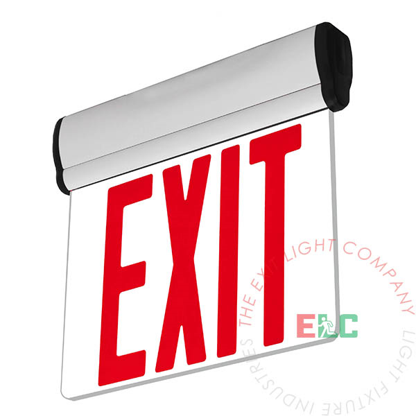 NYC Approved Edge Lit Red LED Exit Sign | Surface Mount | Adjustable Angle