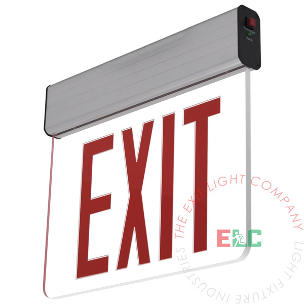 "The Exit Light Co. - 8"" NYC Red LED Edge Lit Exit Sign 