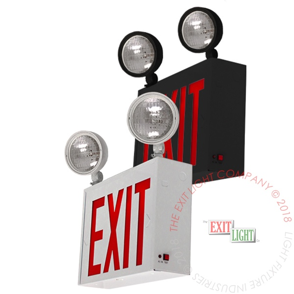 The Exit Light Co. - NYC 8'' Red LED Combo Exit Light | White or Black Housing