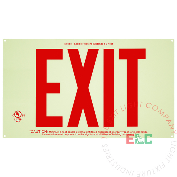 "50' View NYC Approved Photoluminescent Exit Sign - 8"" Lettering"