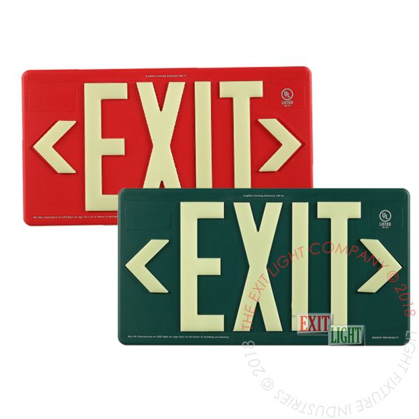 The Exit Light Co. - 100' View Photoluminescent Exit Sign - Indoor/Outdoor