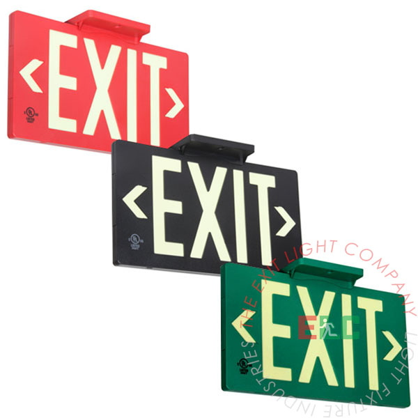 The Exit Light Co. - 50' View Photoluminescent Exit Signs - Plastic