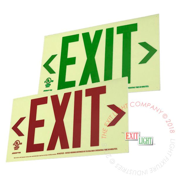 50' View Photoluminescent Exit Sign - Rigid Plastic Base | Red or Green Lettering