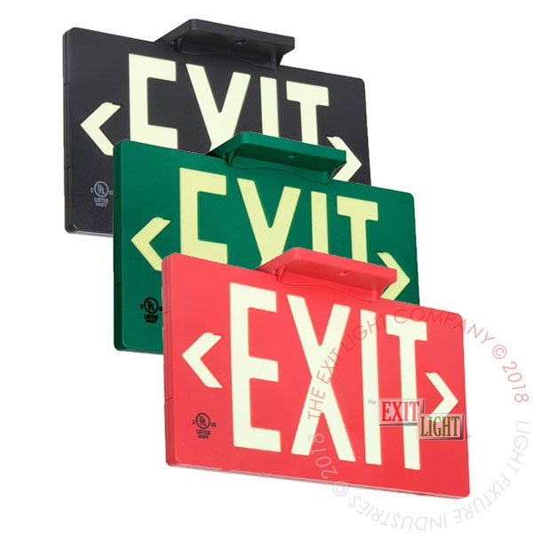 50' View Photoluminescent Exit Signs - Plastic