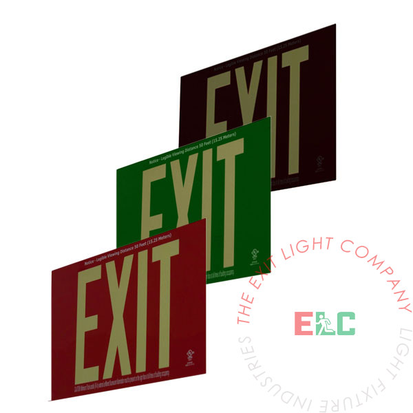 50' View Photoluminescent Exit Sign - Aluminum | Red, Green & Black