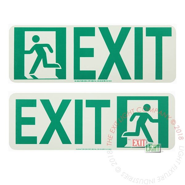 "The Exit Light Co. - Photoluminescent Running Man | Door Mounted | ""Exit to Left / Right"" Sign"