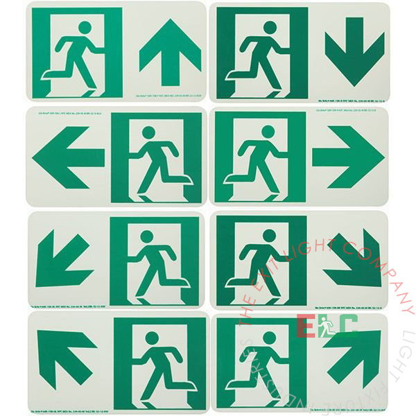 Photoluminescent Running Man | Exit Sign with Arrow