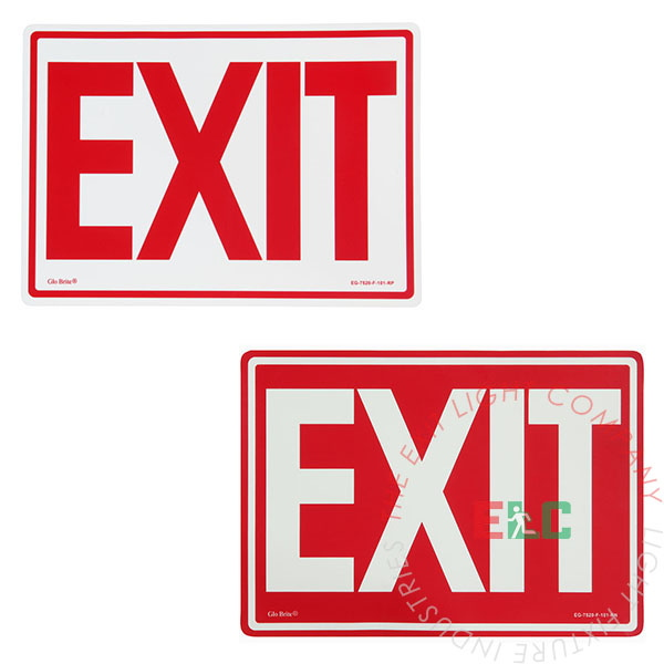 Photoluminescent Egress Exit Sign - Optional Arrows