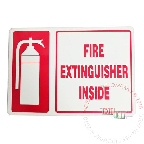 Photoluminescent 'Fire Extinguisher Inside' Sign