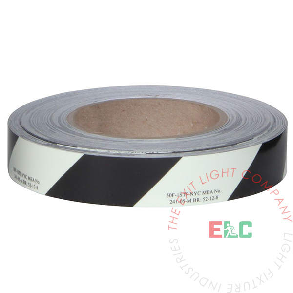 "Photoluminescent Safety Egress Tape (Striped) | 1 Case (12 Rolls of 1"" x 100')"