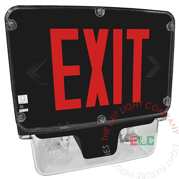 The Exit Light Co. - LED Exit Sign / Emergency Light Combo | NEMA 4X Rated | 5-7 Day Lead Time