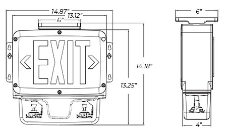 LED Exit Sign / Emergency Light Combo | NEMA 4X Rated | 5-7 Day Lead Time Dimensions