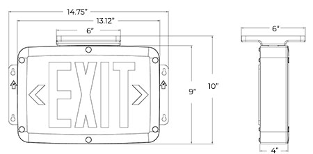 Weatherproof LED Exit Sign | NEMA 4X Rated | 5-7 Day Lead Time Dimensions