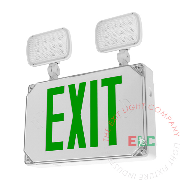 Green Exterior Combo Exit Sign | Square LED Lamps