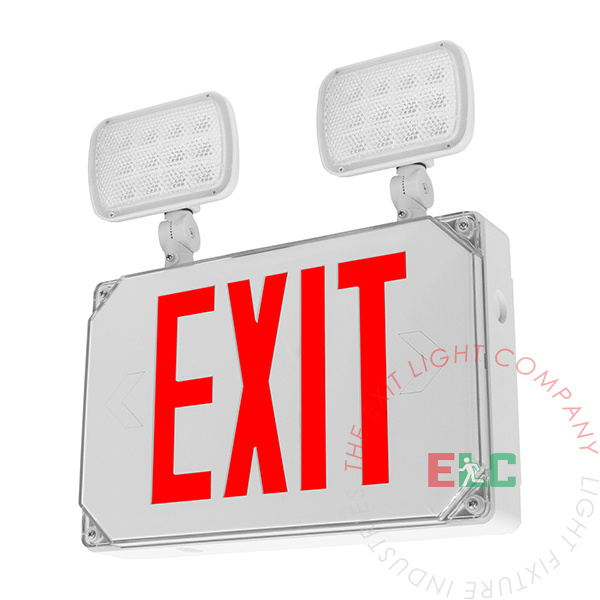 Wet Location Combo RED Exit Sign | Square LED Lamps