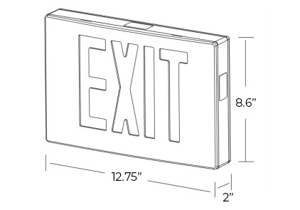 Cast Aluminum Red LED Exit Sign Dimensions
