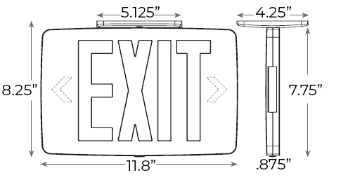 Thin Cast Aluminum Green LED Exit Sign Dimensions