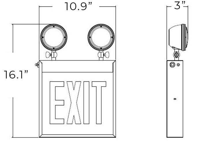 Red LED Chicago Approved Combo Exit Sign   Adjustable Lamp Heads Dimensions
