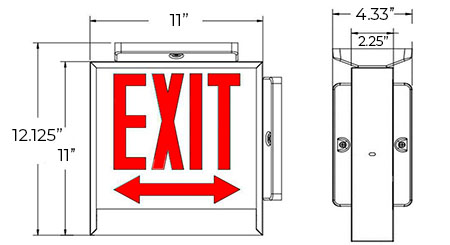 Red LED Chicago Approved Exit Sign | UL 924 Dimensions