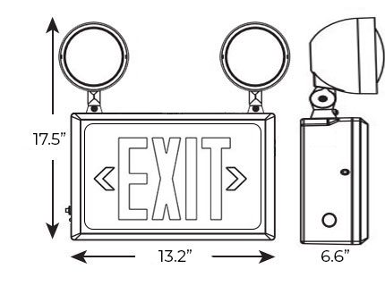 Exit Sign / Emergency Light Combo | Hazardous | **6-8 Week Lead Time** Dimensions
