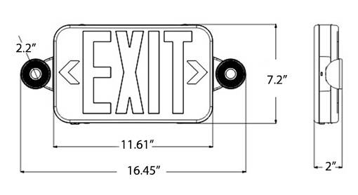 Micro Red LED Exit Light Combo | Adjustable Heads Dimensions