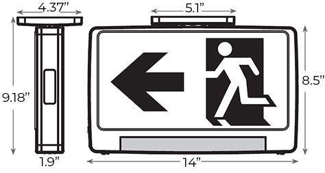 LED Running Man Light Pipe Combo Exit Sign Dimensions