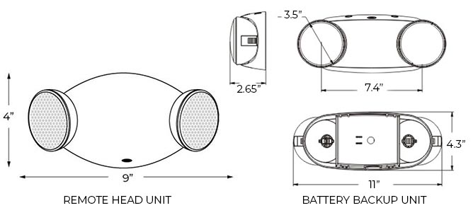 Bright Oval LED Emergency Light Dimensions