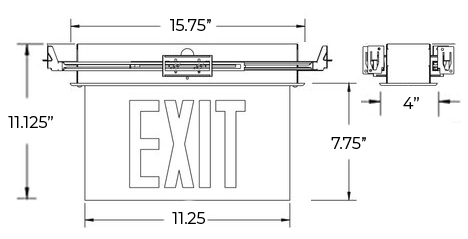 Edge Lit Green LED Exit Sign | Recessed Mount Assembly Dimensions
