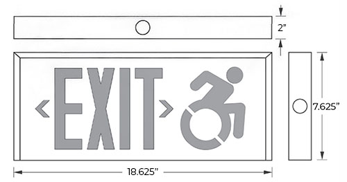 Connecticut Approved Red LED Exit Sign | Wheelchair Accessibility Symbol Dimensions