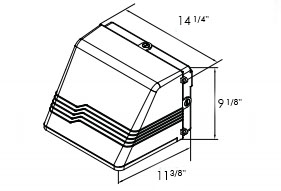 Light Fixture | Full Cutoff Wall Pack 1x26W CFL (w/ Emergency Ltg Option) | 2 Week Lead Time Dimensions