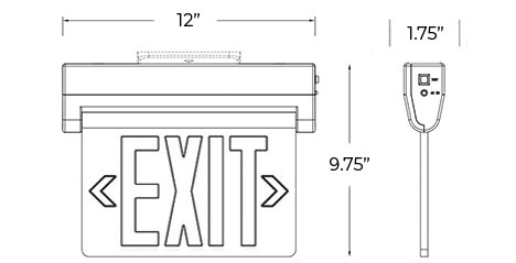 Edge Lit Green LED Exit Sign | Surface Mount | Adjustable Angle Dimensions