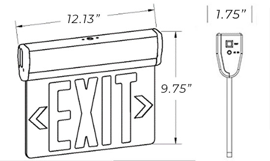 Edge Lit Red LED Exit Sign | Surface Mount | Adjustable Angle Dimensions