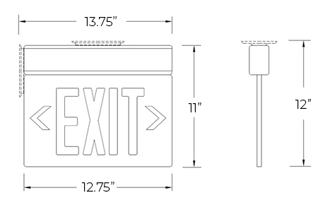 Edge Lit Red LED Exit Sign | Surface or Recessed Mount Dimensions