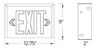 Steel Red LED Exit Sign - White Housing Dimensions