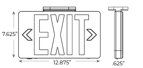 Electroluminescent Exit Sign | White or Black Housing Dimensions