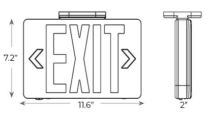 Modern Design Green LED Exit Sign | White Housing Dimensions