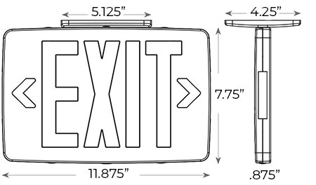 Extra Thin Green LED Exit Sign - White Housing Dimensions