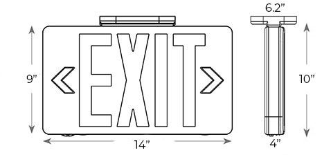 Vandal Resistant Red LED Exit Sign | Wet Location | 5-6 Week Lead Time Dimensions