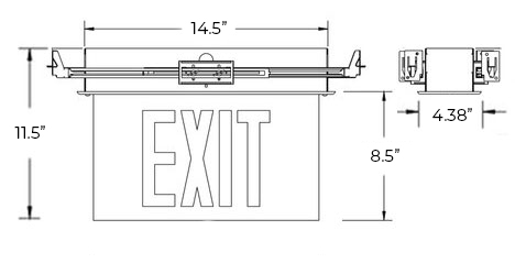 NYC Approved Edge Lit Red LED Exit Sign | Recessed Mount Dimensions