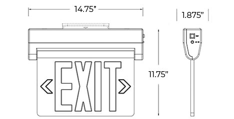 NYC Approved Edge Lit Red LED Exit Sign | Surface Mount | Adjustable Angle Dimensions