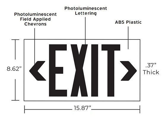 100' View Photoluminescent Exit Sign | Red or Green Housing | Indoor/Outdoor Rated Dimensions