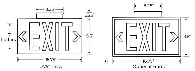 75' View Photoluminescent Exit Sign Dimensions