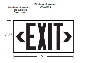 100' View Photoluminescent Exit Sign - Indoor/Outdoor Dimensions