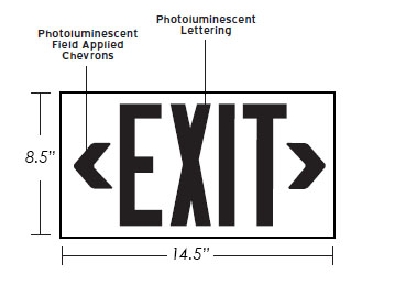 50' View Photoluminescent Exit Sign - Aluminum | Red, Green & Black Dimensions