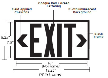 50' View Photoluminescent Exit Sign - Rigid Plastic Base | Red or Green Lettering Dimensions