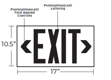 50' View NYC Approved Photoluminescent Exit Sign - 8