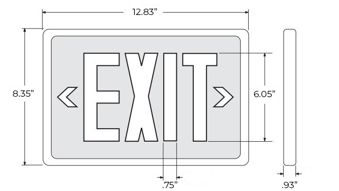 Tritium Self Luminous Exit Sign | Red, Green, Black | 6-8 Week Lead Time Dimensions