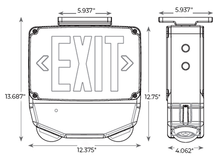 Outdoor Heavy Duty Combo Exit Sign | 5-7 Day Lead Time Dimensions